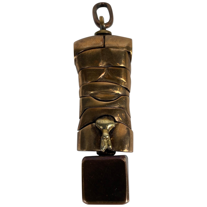 "Miguel Berrocal ""Mini David"" Puzzle Sculpture, Italy 1960s, Brass / Bronze"