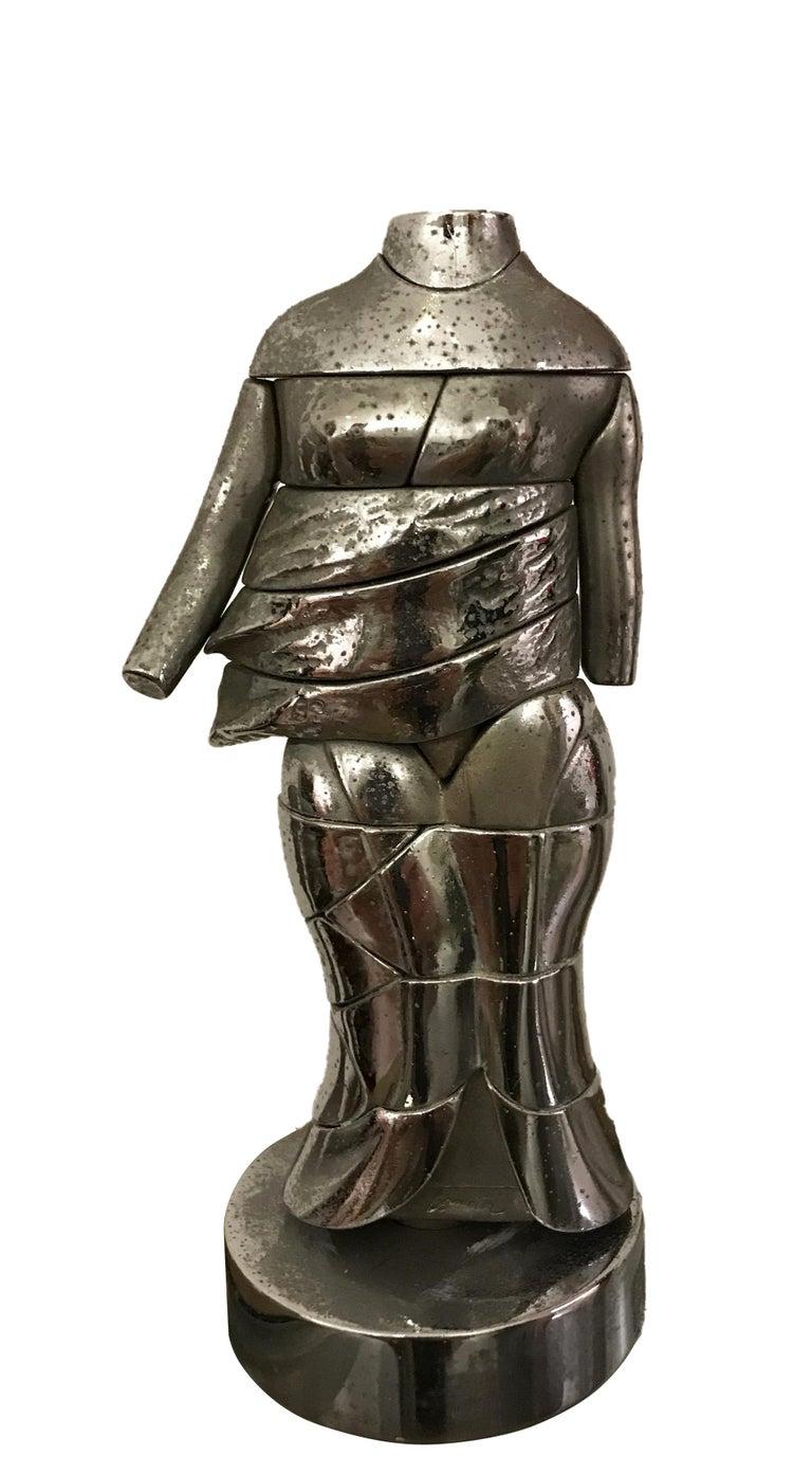 Miguel Berrocal Nude Sculpture - Minicariatide - Original Bronze Sculpture by M. Berrocal - 1960s