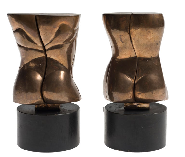 Otto/Opus 348 and Otra/Opus 349 - Original Bronze Sculpture by M. Berrocal - Gold Nude Sculpture by Miguel Berrocal