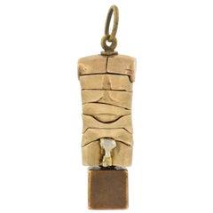 "Miguel Berrocal Vintage ""Micro David"" Puzzle Sculpture Key Ring Pendant"
