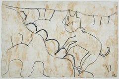 """Animal Climbing a Mountain,"" ink on handmade paper by Miguel Castro Leñero"