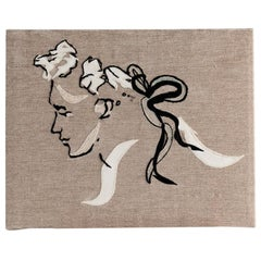 "Miguel Cisterna, ""Tête,"" Embroidered Fabric Panel, France, 2020"