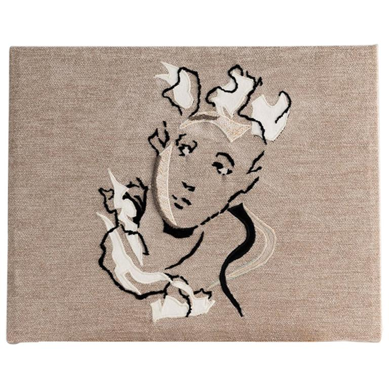 """Miguel Cisterna, """"Tête,"""" Embroidered Fabric Panel, France, 2020 For Sale"""