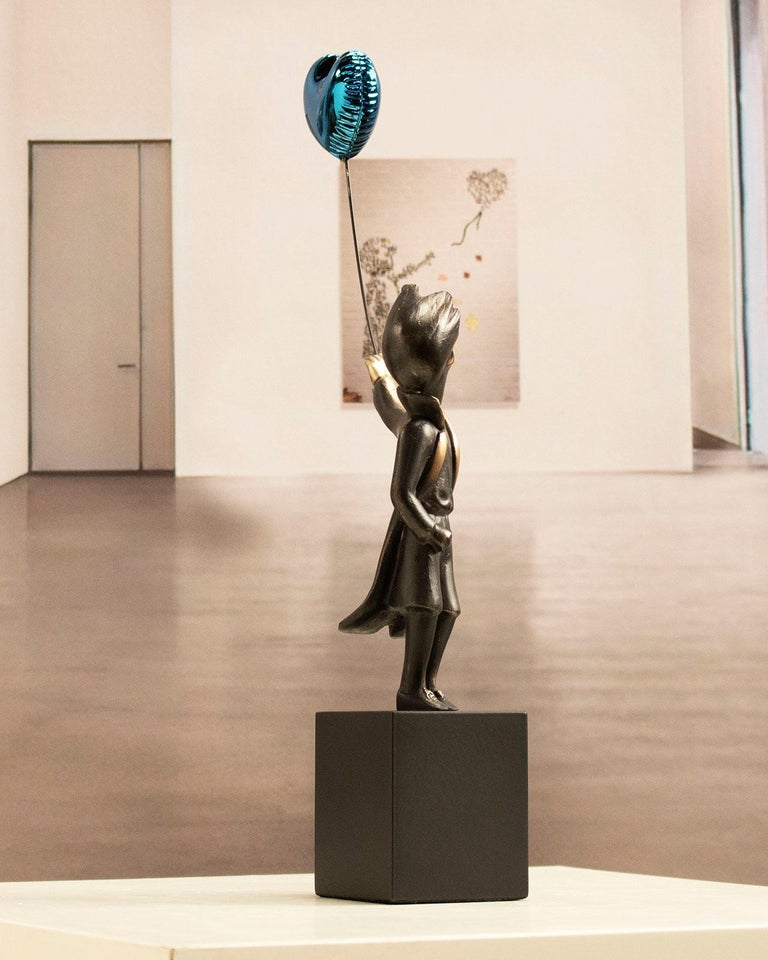 A boy with balloon Big - Miguel Guía Street Art Cast bronze Sculpture For Sale 8