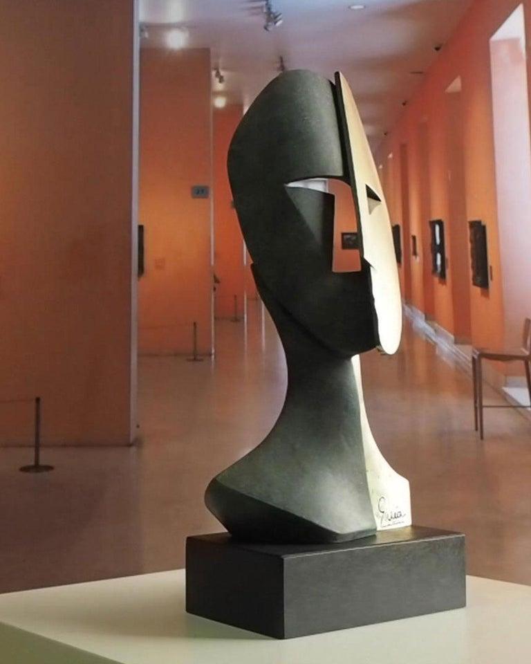 Big Cubiste Mask - Miguel Guía Cubist Bronze layer Sculpture 12