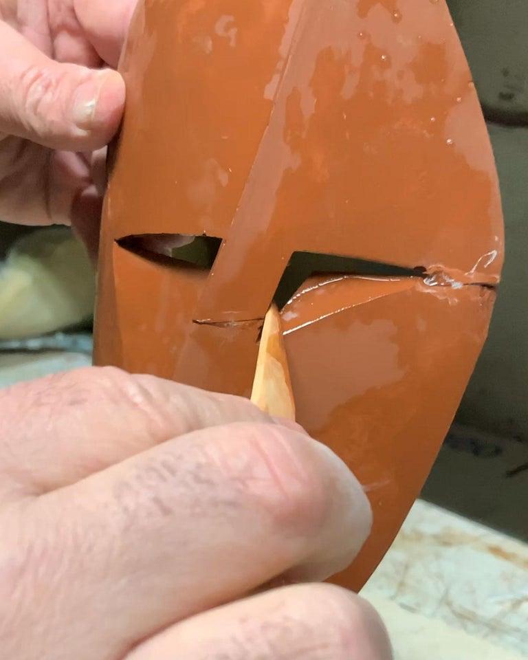 Big Cubiste Mask - Miguel Guía Cubist Bronze layer Sculpture 13