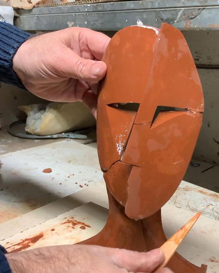 Big Cubiste Mask - Miguel Guía Cubist Bronze layer Sculpture 14