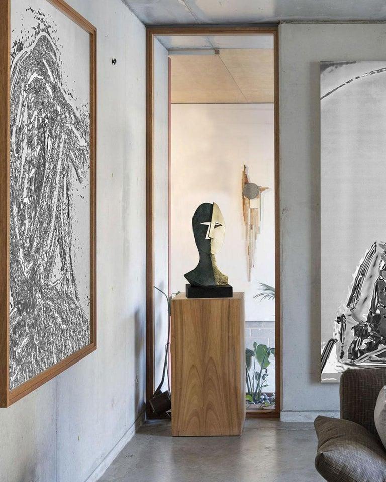 Big Cubiste Mask - Miguel Guía Cubist Bronze layer Sculpture 1