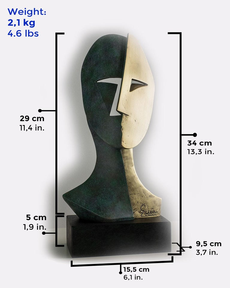 Big Cubiste Mask - Miguel Guía Cubist Bronze layer Sculpture 3