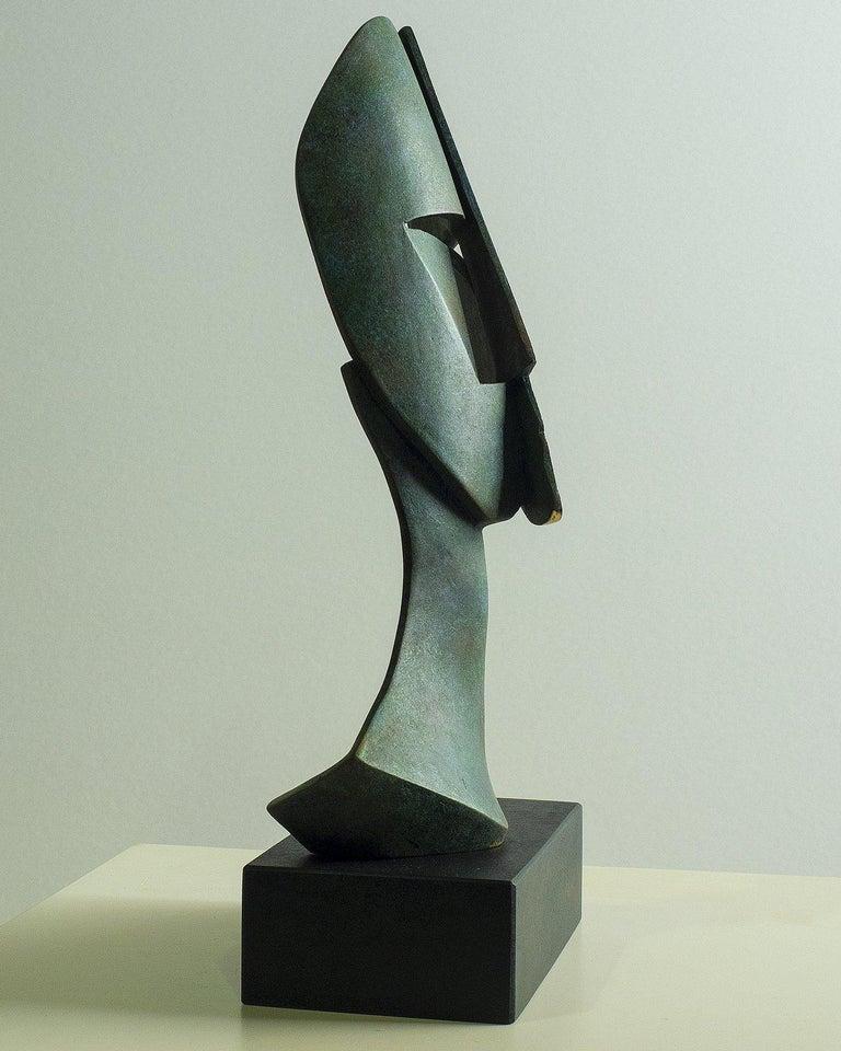 Big Cubiste Mask - Miguel Guía Cubist Bronze layer Sculpture 5