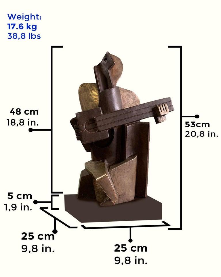 Big Guitarist Arlequin Cast Bronze - Miguel Guía Cubist Sculpture For Sale 3