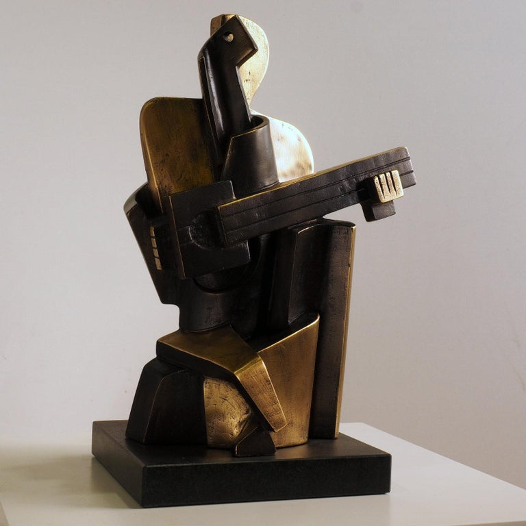 Big Guitarist Arlequin - Miguel Guía Cubist Bronze layer Sculpture - Gold Figurative Sculpture by Miguel Guía