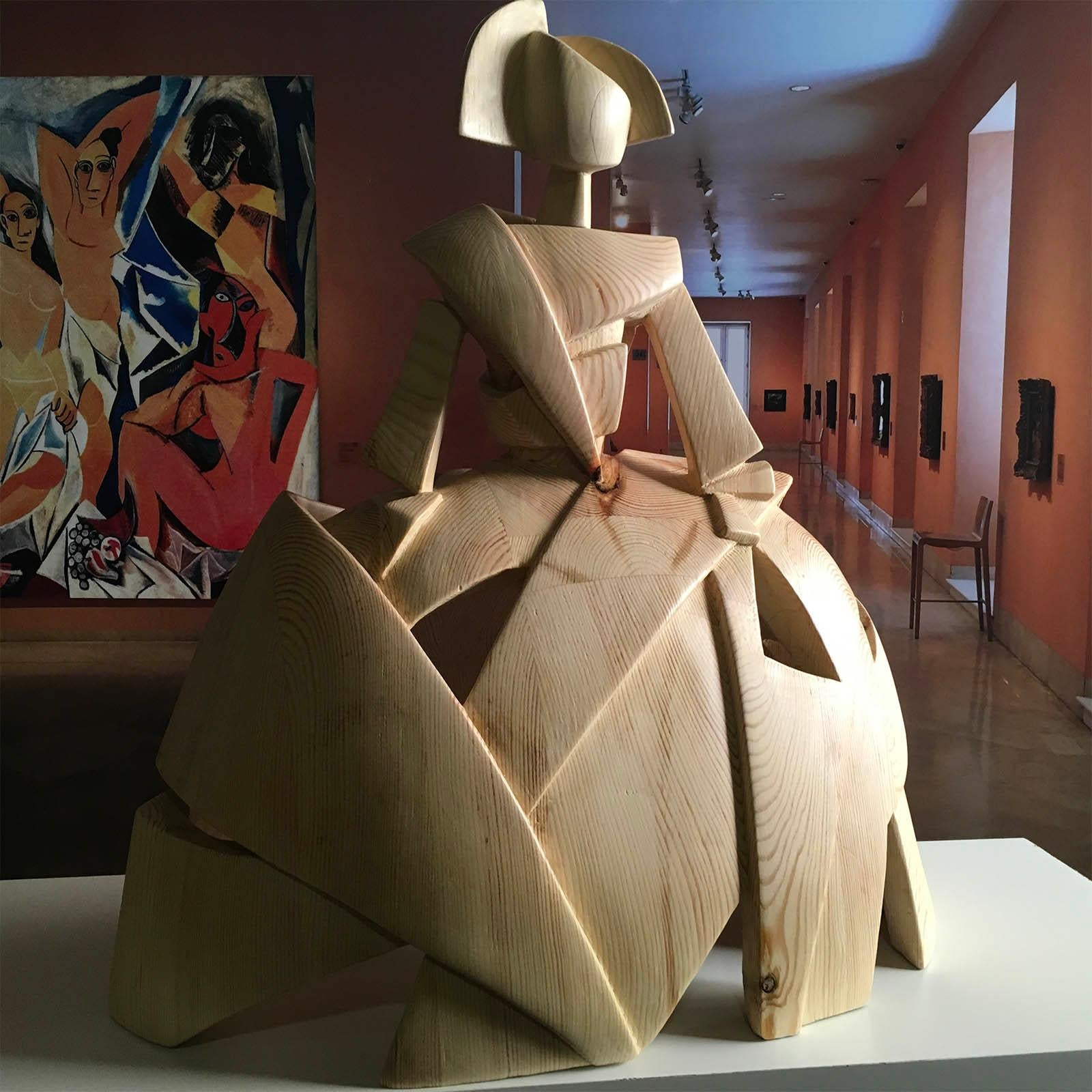 Big Infant Girl Air and Wood – Miguel Guía Cubist Sweden pine tree Sculpture