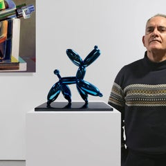 Blue smug dog - Miguel Guía, Pop Art Nickel layer Sculpture