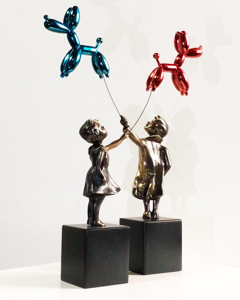 Child with balloon dog Big – Miguel Guía Street Art Cast bronze Sculpture For Sale 12