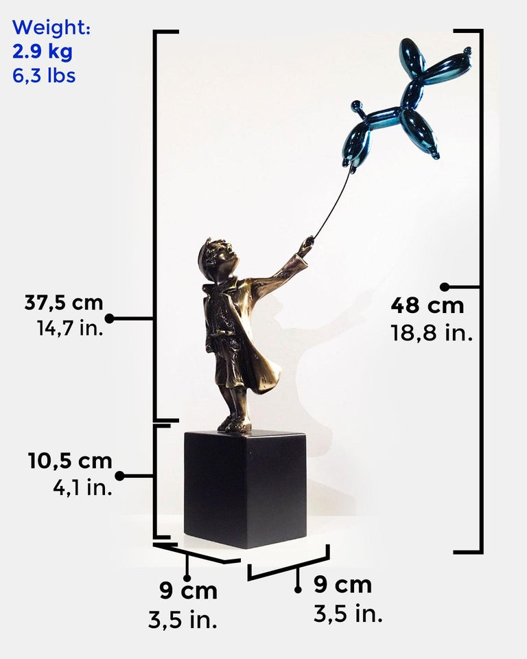 Child with balloon dog Big – Miguel Guía Street Art Cast bronze Sculpture For Sale 3