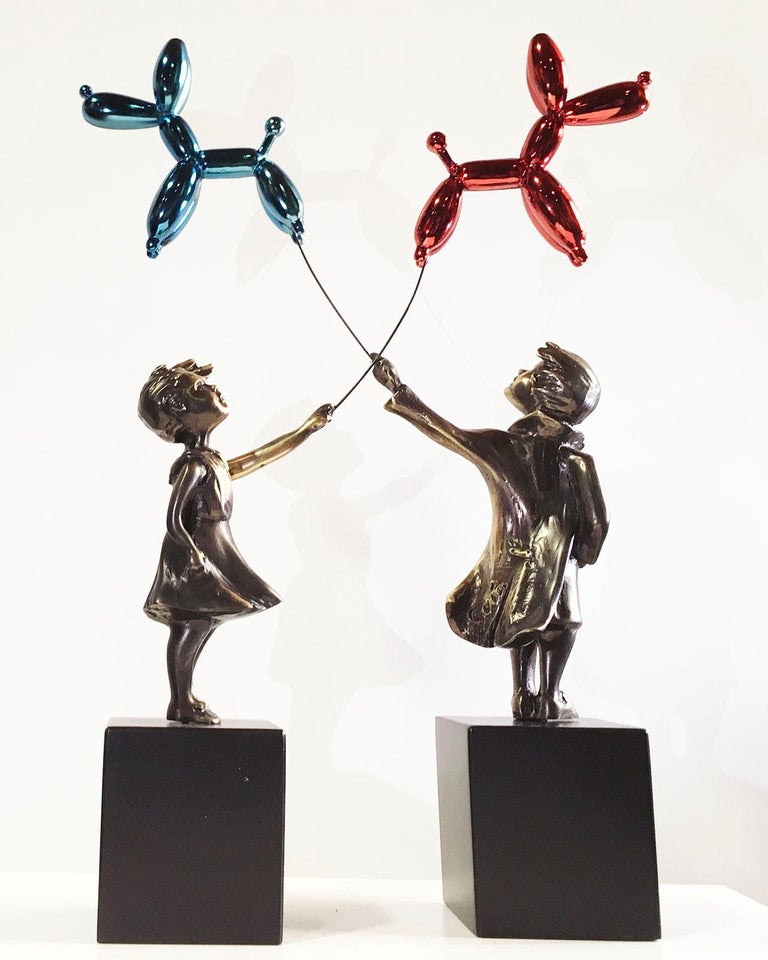 Child with balloon dog Big – Miguel Guía Street Art Cast bronze Sculpture For Sale 8