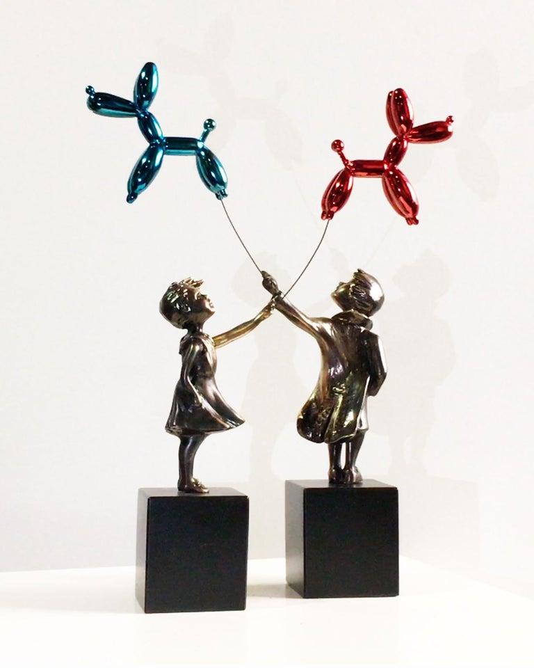 Child with balloon dog - Miguel Guía Street Art Cast bronze Sculpture 13
