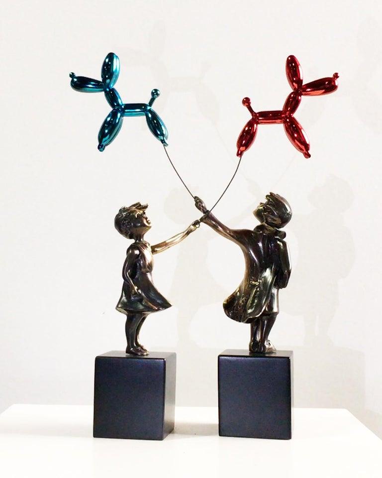 Child with balloon dog - Miguel Guía Street Art Cast bronze Sculpture 14
