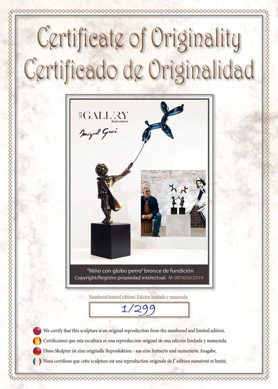 Child with balloon dog - Miguel Guía Street Art Cast bronze Sculpture 15