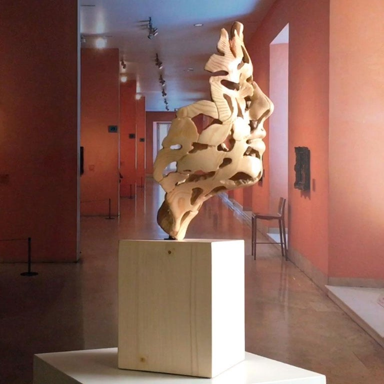 Essence of Youth Wood – Miguel Guía Neo-Expressionist Sweden pine tree Sculpture For Sale 10