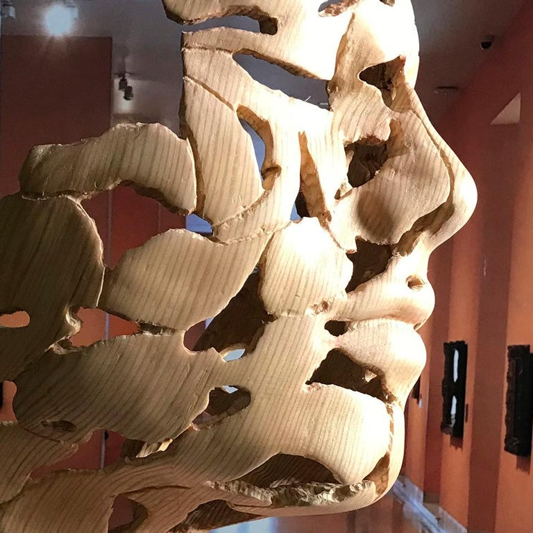 Essence of Youth Wood – Miguel Guía Neo-Expressionist Sweden pine tree Sculpture For Sale 13
