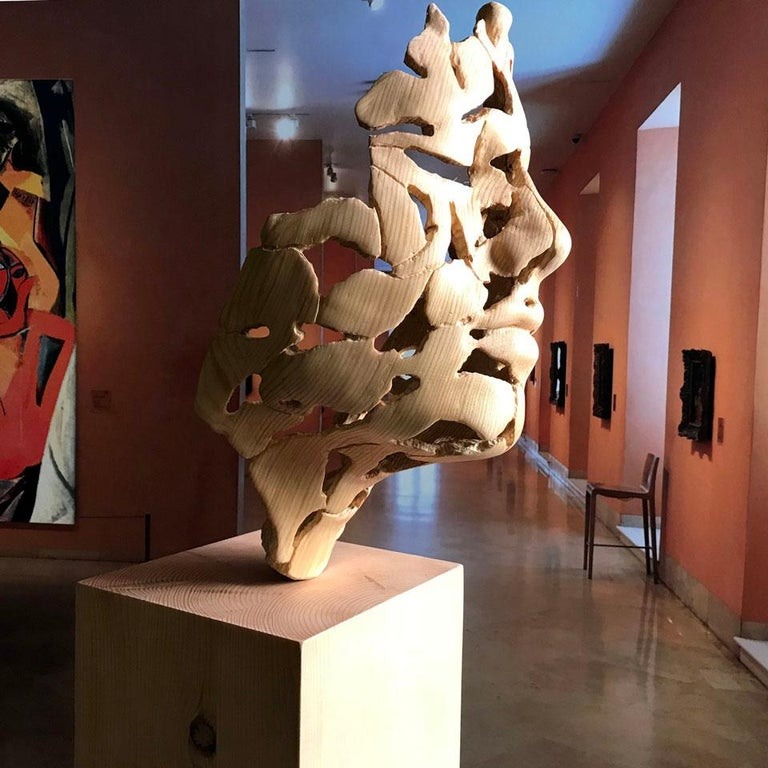Essence of Youth Wood – Miguel Guía Neo-Expressionist Sweden pine tree Sculpture For Sale 4