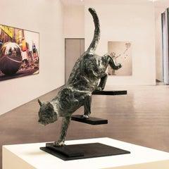 Feline stealth – Miguel Guía Impressionist Bronze Sculpture
