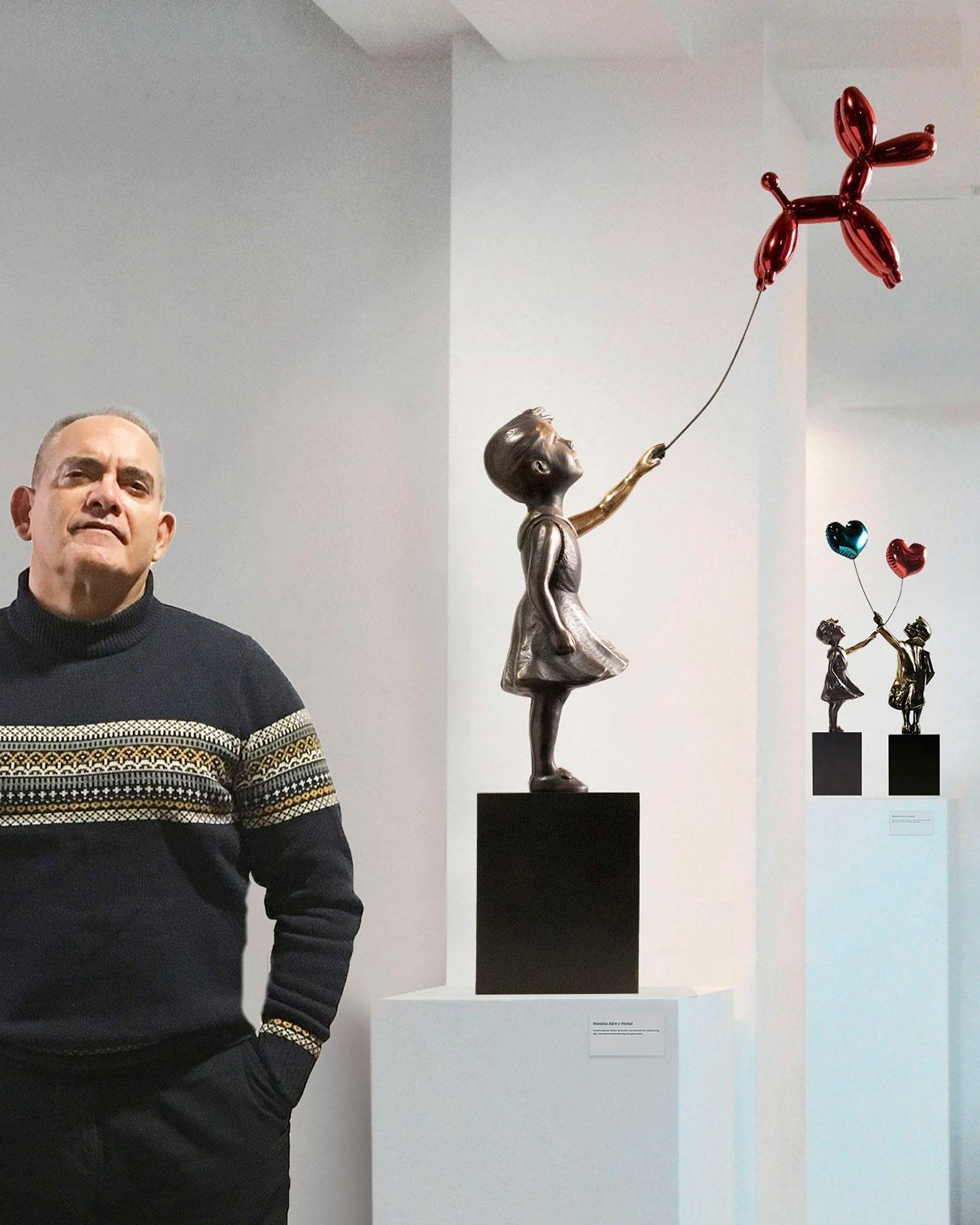 Girl with balloon dog 74 – Miguel Guía Street Art Cast bronze Sculpture Big