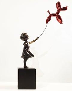 Girl with balloon dog - Miguel Guía Street Art Cast bronze Sculpture