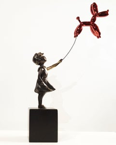 Girl with balloon dog - Miguel Guía Street Art Cast bronze Sculpture