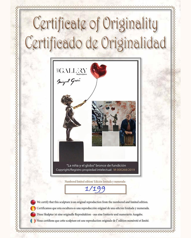 Girl with red balloon – Miguel Guía Street Art Cast bronze Sculpture Big For Sale 9