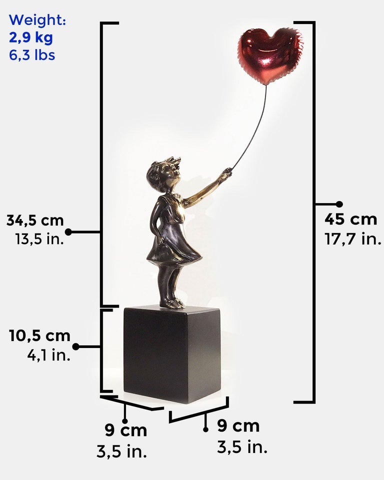 Girl with red balloon – Miguel Guía Street Art Cast bronze Sculpture Big For Sale 4