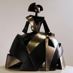 Infant Girl Air and Metal - Miguel Guía, Cubist, Nickel layer, Sculpture