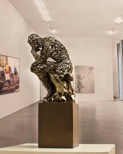 Molecular Thinker Bronze 40 - Miguel Guía, Impressionist bronze layer, Sculpture