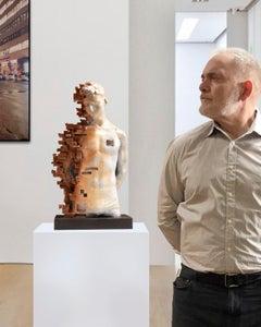 Pixelated young torso - Miguel Guia Cubist Bronze Sculpture