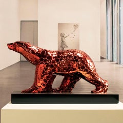 Pompom bear as an excuse Red fire - Miguel Guía Pop Art Nickel layer Sculpture