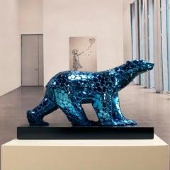Pompon Bear as an excuse - Miguel Guía Pop Art Nickel layer Sculpture