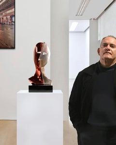Red Cubist Face - Miguel Guía Cubist Bronze layer Sculpture