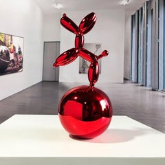 Red Dog Balloon on  Nickel Spher - Miguel Guía, Pop Art Nickel layer Sculpture