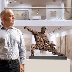 Single Whip - Miguel Guía Constructivist bronze layer Sculpture