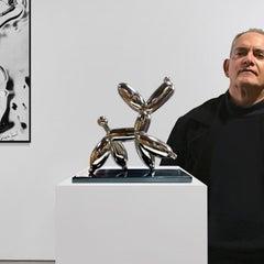 Smug Nickel Dog - Miguel Guía, Pop Art Nickel layer Sculpture
