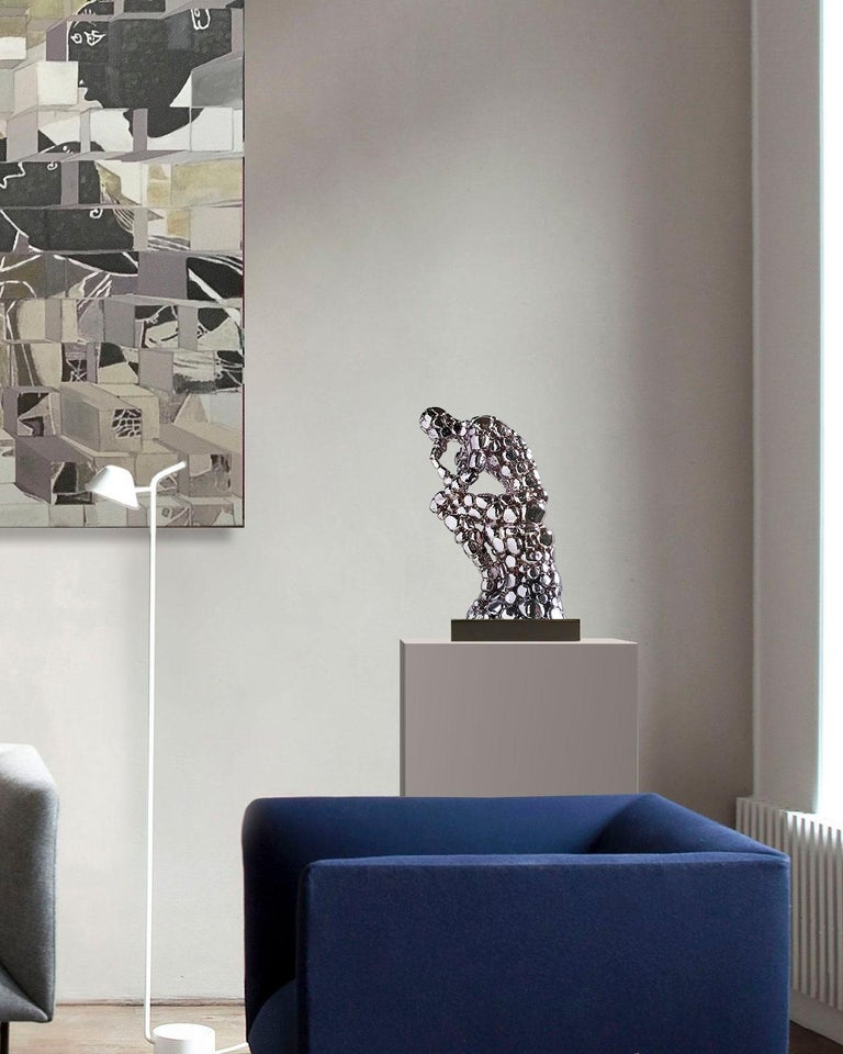 Thinker Rodin as an excuse Nickel - Miguel Guía, Pop Art, Nickel layer Sculpture For Sale 10