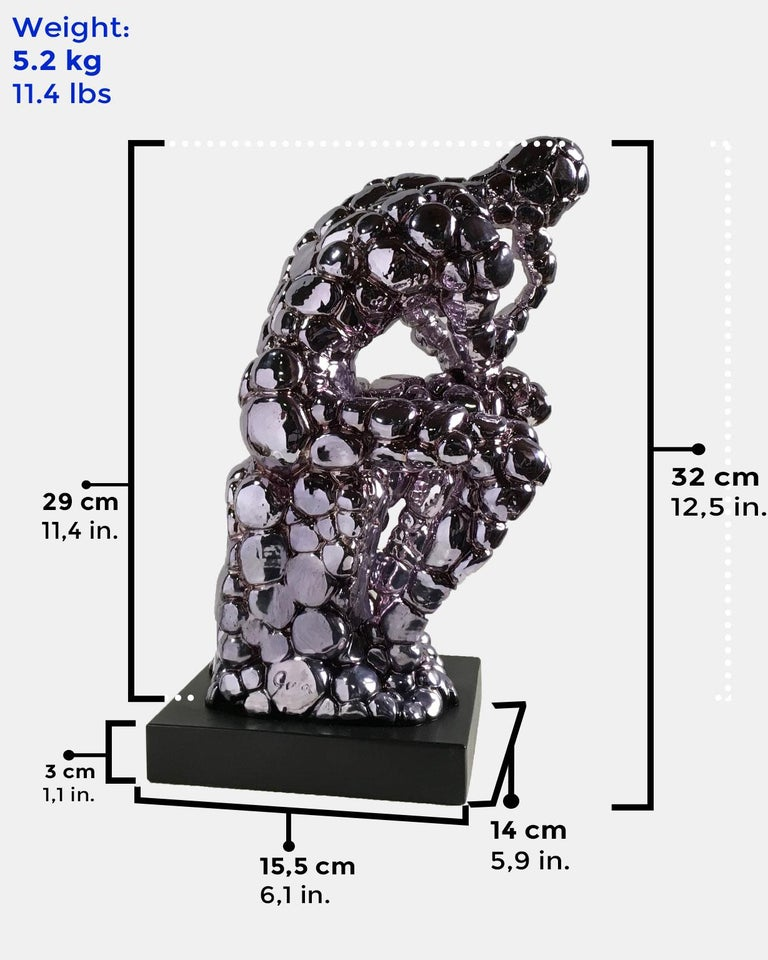 Thinker Rodin as an excuse Nickel - Miguel Guía, Pop Art, Nickel layer Sculpture For Sale 1