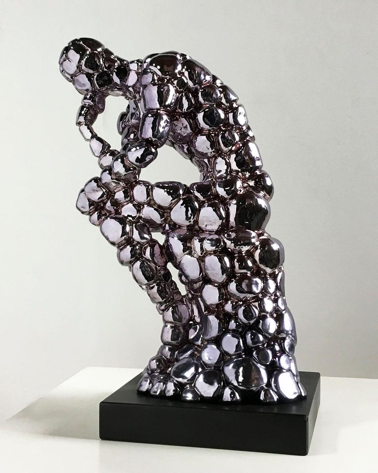 Thinker Rodin as an excuse Nickel - Miguel Guía, Pop Art, Nickel layer Sculpture For Sale 3