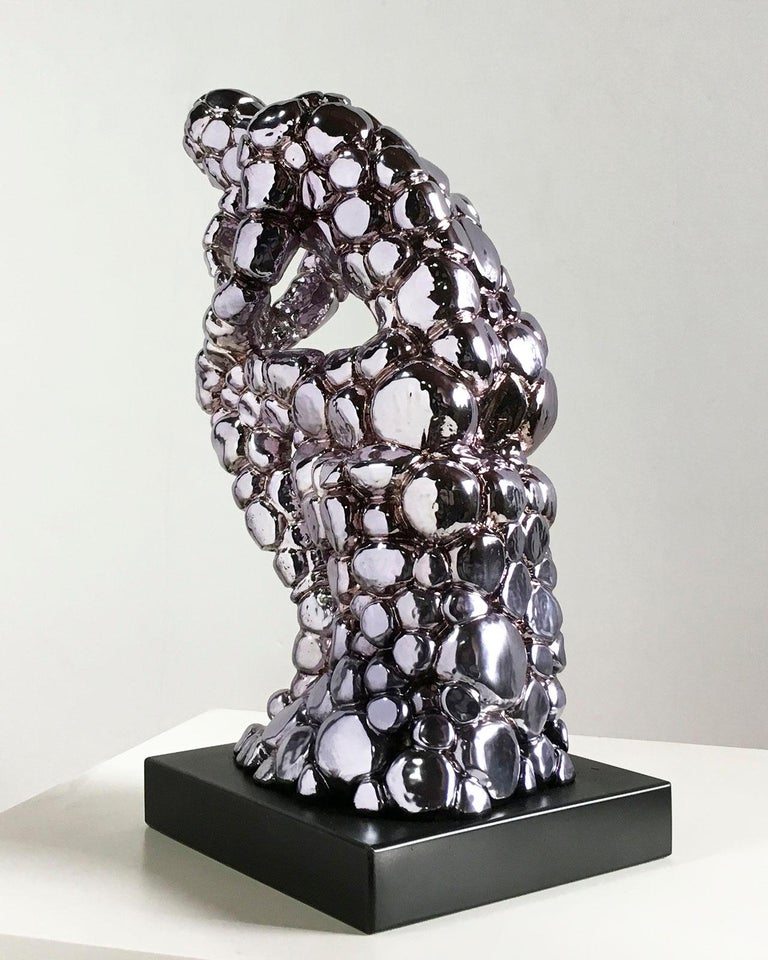 Thinker Rodin as an excuse Nickel - Miguel Guía, Pop Art, Nickel layer Sculpture For Sale 7