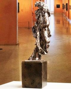 We are an enigma Nickel - Miguel Guía Realism compacted marble powder Sculpture