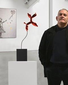 Weightless balloon dog red 63 - Miguel Guía, Pop Art Nickel layer Sculpture