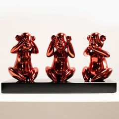 Wise monkeys red - Miguel Guía, Pop Art Nickel layer Sculpture