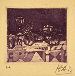 Cup with Pot  - Original Etching and Aquatint by Miguel Ibarz - 1960s
